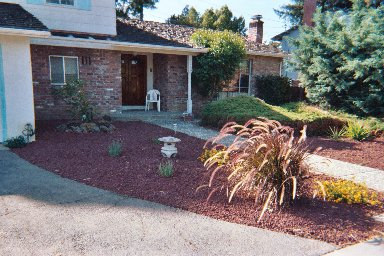 Red Rock Stones with Drought-tolerant Landscape